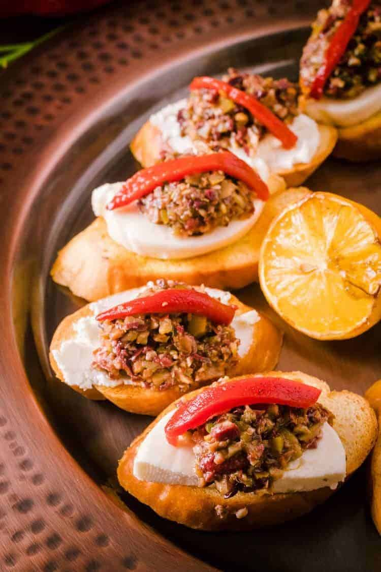Mixed Olive Tapenade Crostini with Grilled Bread Close Up