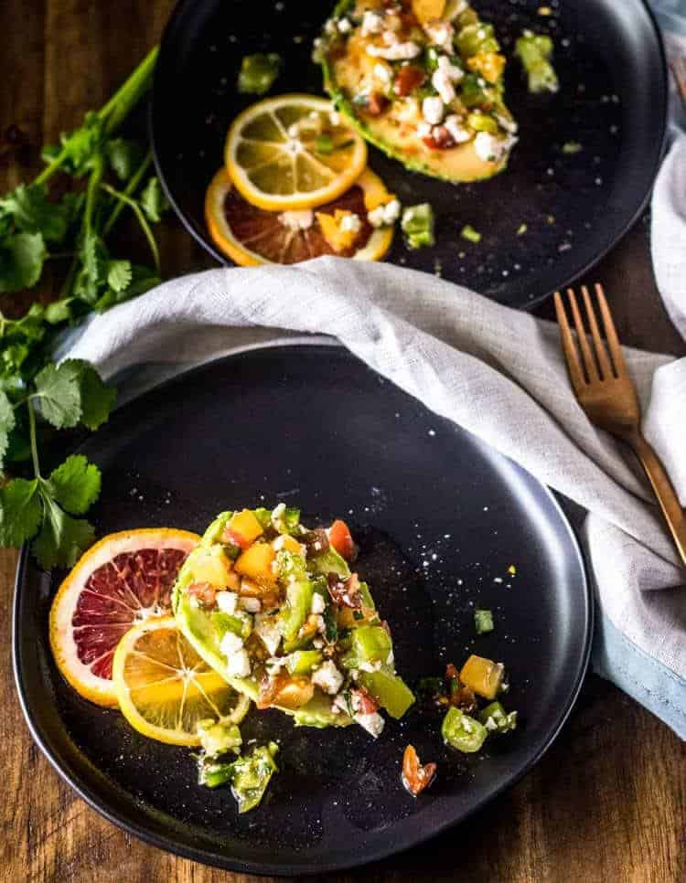 Heirloom Tomato Avocado Salad with Citrus Vinaigrette Both Plates