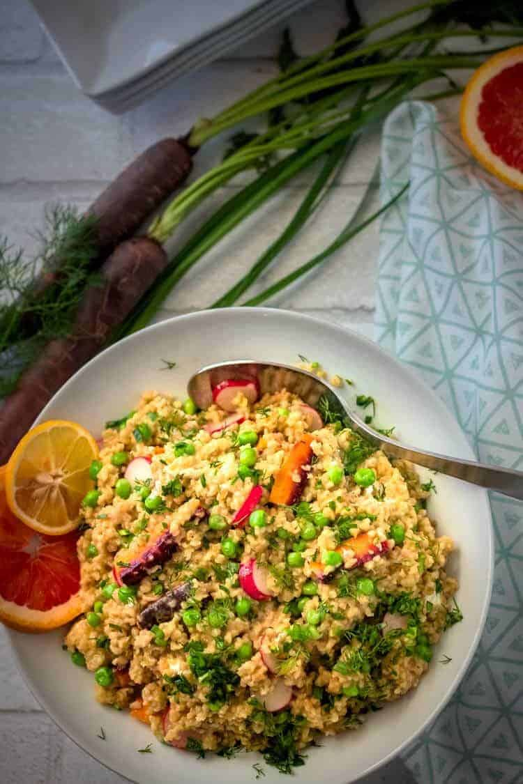 Spring Vegetable Freekeh Salad Feature Image