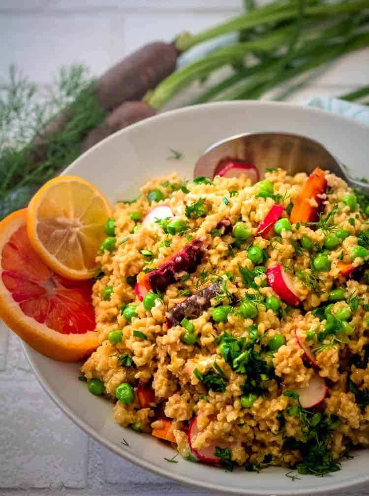 Spring Vegetable Freekeh Salad Close Up