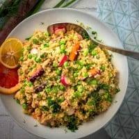 Spring Vegetable Freekeh Salad with Citrus Dill Vinaigrette