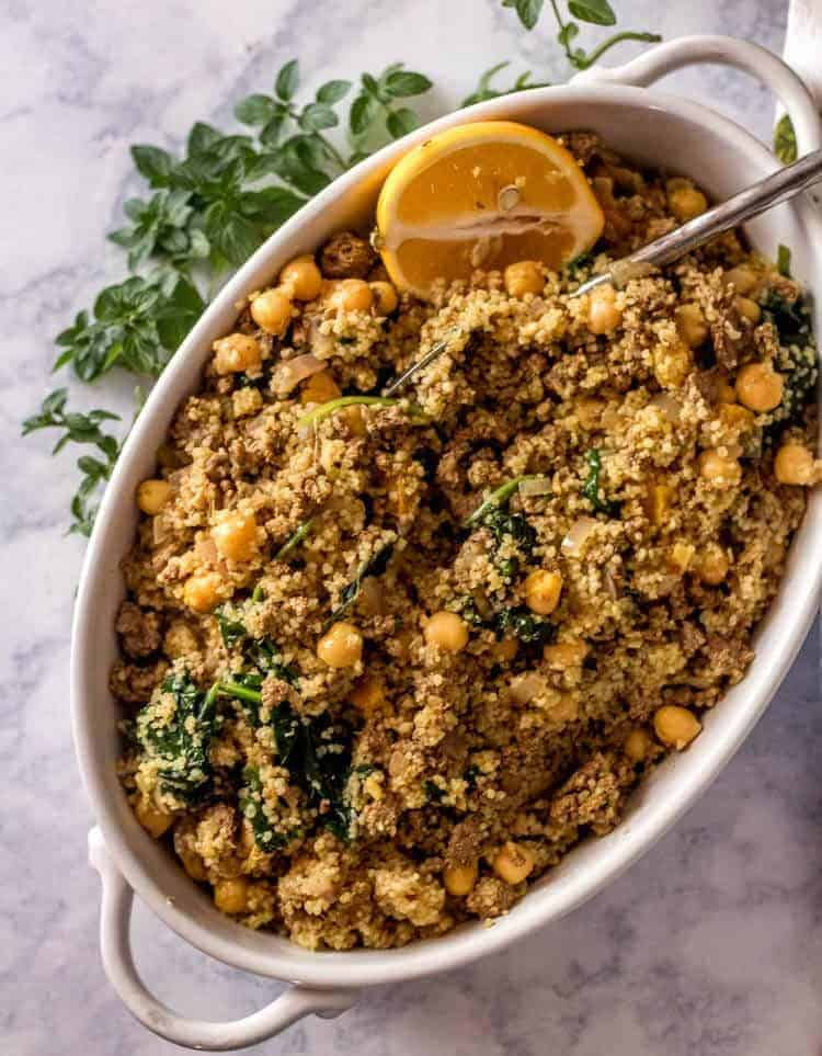Easy One Pot Ground Lamb and Couscous Serving Dish