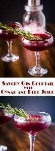 Savory Gin Cocktail with Cynar and Beet Juice Long Pin