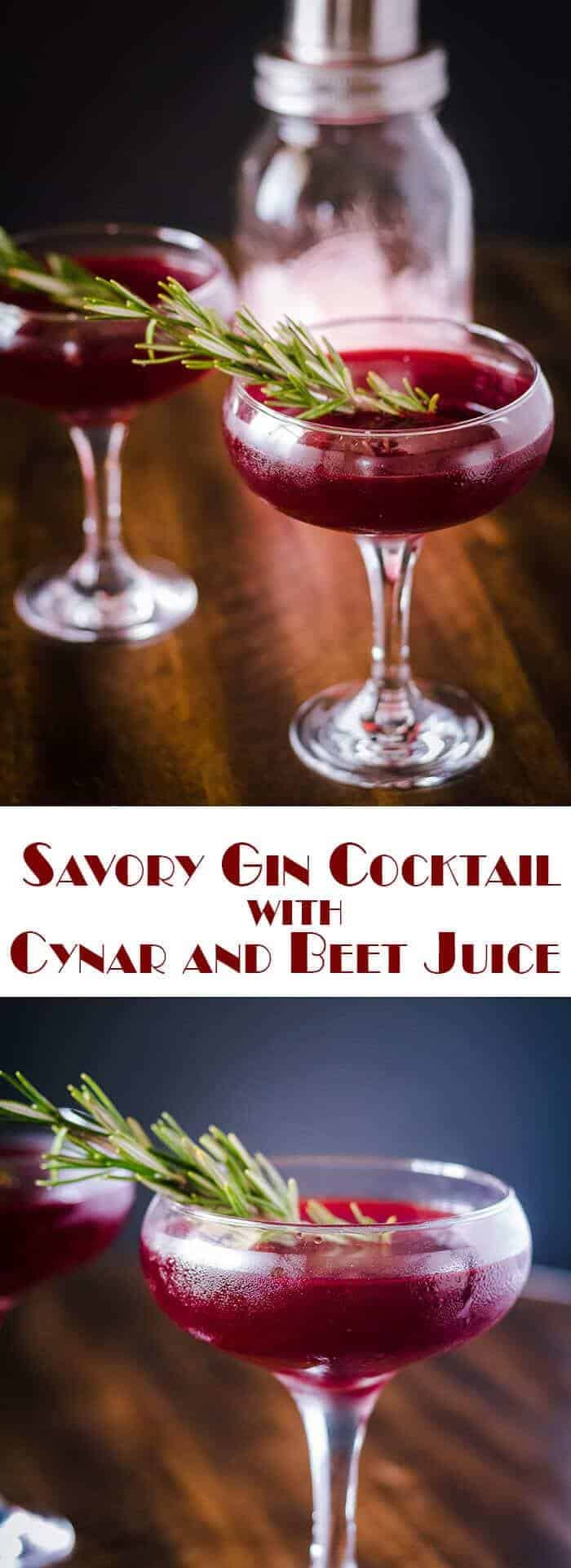 Savory Gin Cocktail with Cynar and Beet Juice combines aromatic gin with Cynar aperitif (aromatic and vegetal) with beet juice, and topped off with savory or aromatic bitters in a delightfully savory and beautiful cocktail! savory cocktail | savory gin cocktail | cocktails | beet cocktail | Cynar | gin|