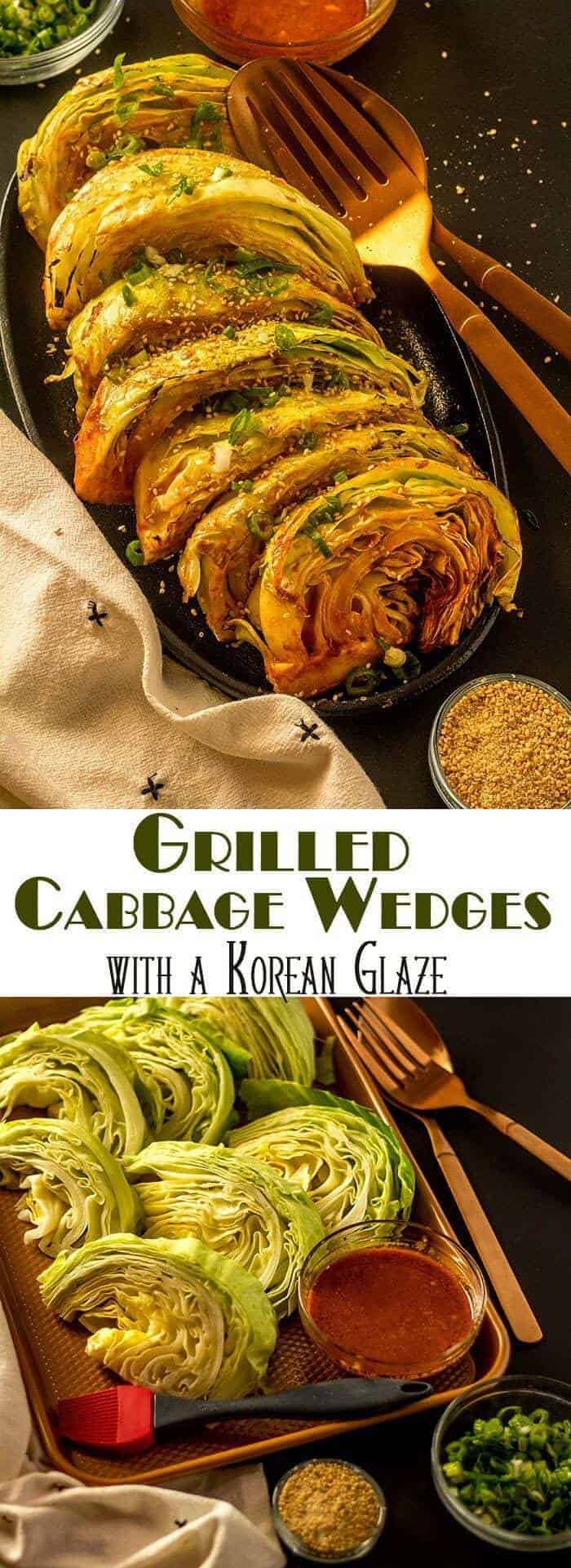 "An addictive spicy sauce that gets its ""kick"" from gochujang dresses up Grilled Cabbage Wedges with a Korean Glaze... This grilled cabbage is anything but bland, and super easy to make! Korean Sides 