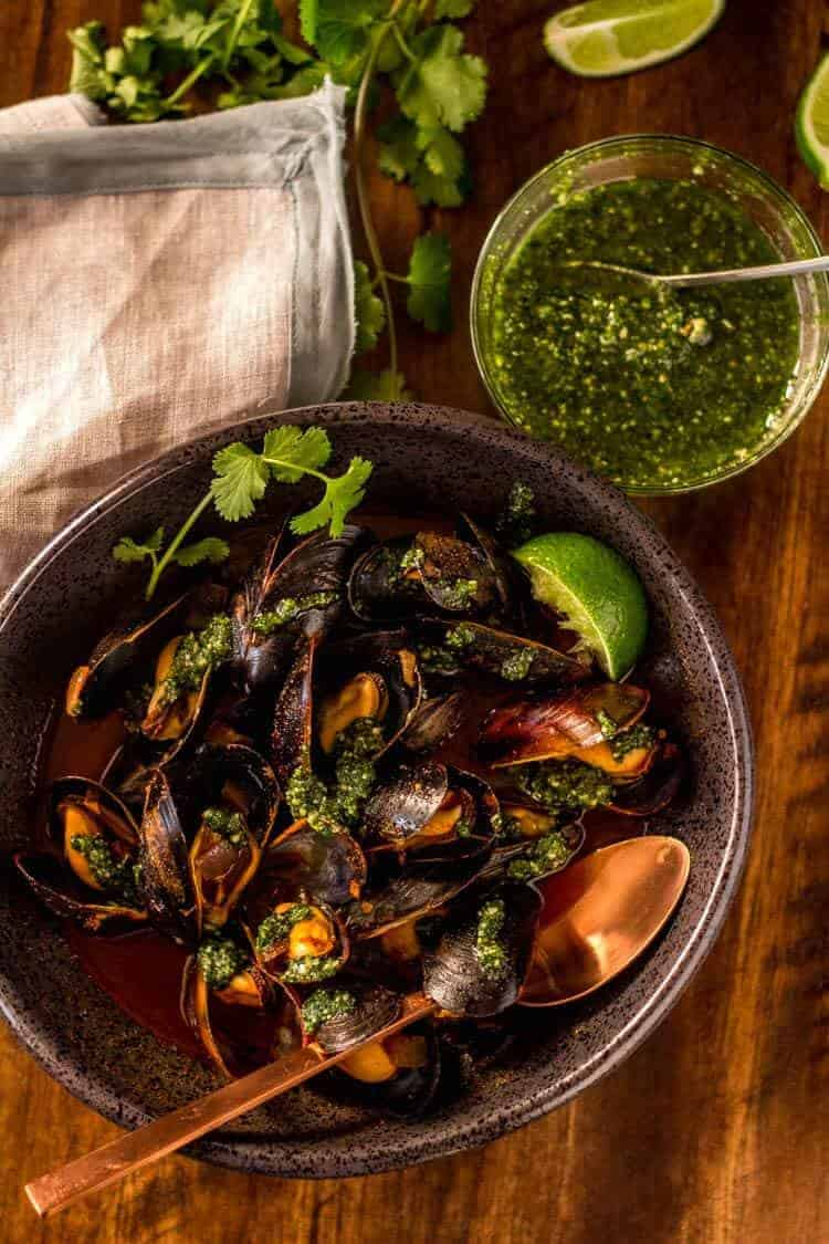 Red Chile Mussels with Cilantro Pesto Hero Image