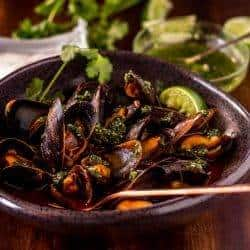 Red Chile Mussels with Cilantro Pesto