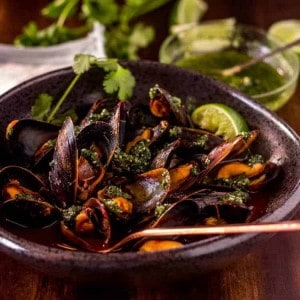 Red Chile Mussels with Cilantro Pesto Feature Image