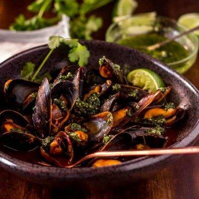 Red Chile Mussels with Cilantro Pesto New Mexico Style