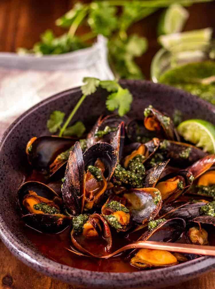 Red Chile Mussels with Cilantro Pesto Close Up