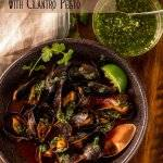 A little kick from New Mexico red chile powder sets my Red Chile Mussels with Cilantro Pesto apart from all the rest... finished with a vibrant cilantro pesto, they're sure to be a new favorite for bivalve lovers! Mussels | Seafood Recipes | Quick Seafood | NM Red Chile | Main Dishes | Gluten Free Mains