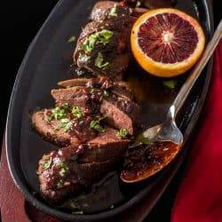 Savory Blood Orange Chocolate Sauce On Sous Vide Duck Breasts
