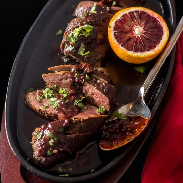 Sous Vide Duck Breasts with Blood Orange Chocolate Sauce Feature Image