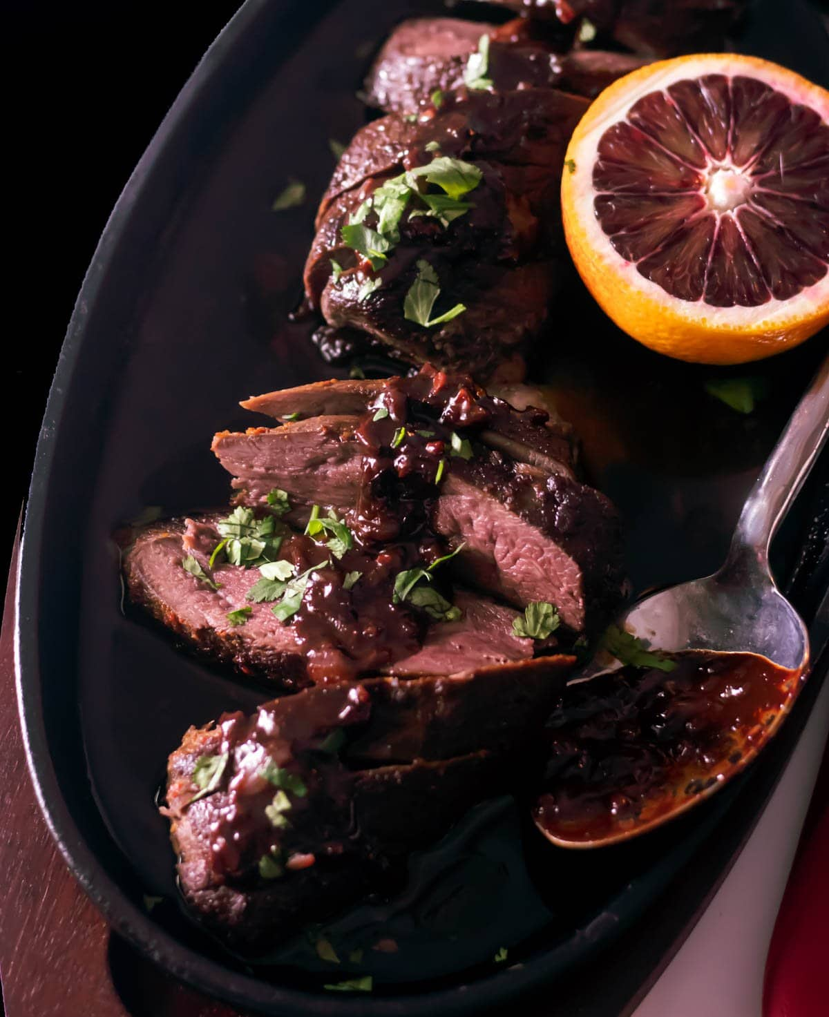 Sous Vide Duck Breasts with Blood Orange Chocolate Sauce Close Up