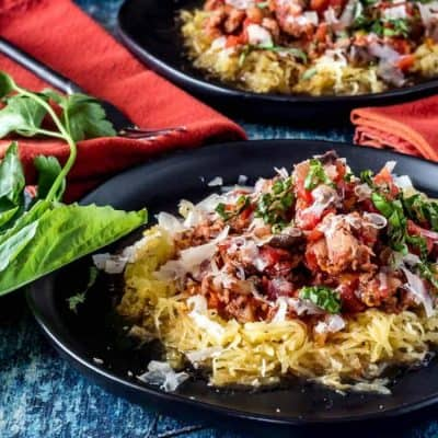 Spaghetti Squash with Easy Sausage Marinara