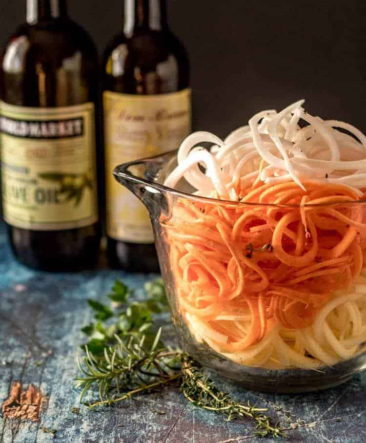 Quick Spiralized Root Veggies Prep Bowl