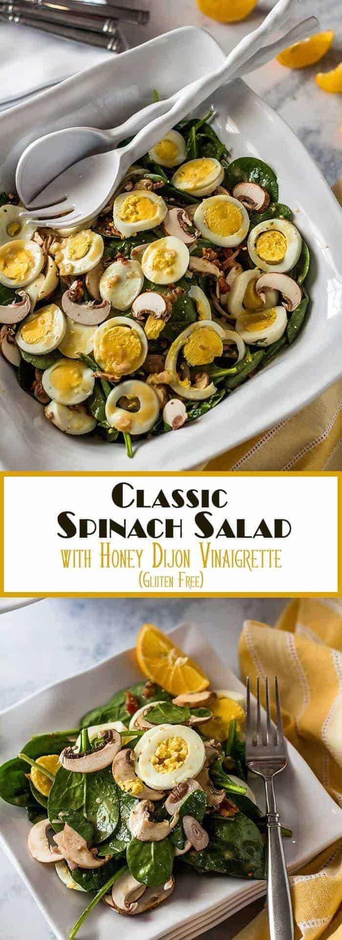 It's a classic, but it's not bland or boring... A Classic Spinach Salad with Honey Dijon Vinaigrette is nutrient and flavor packed with umami mushrooms, smoky bacon, and protein-rich hard-cooked egg. It's going to be perfect alongside that leg of lamb (or honey baked ham) on your #SundaySupper table! Sunday Supper | Easter Sides | Spinach Salads | Spring Holiday Sides | Classic Spinach Salad | Gluten Free Salads