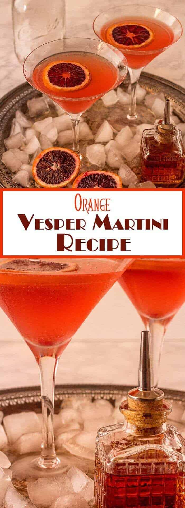 James Bond's drink of choice was the vesper martini... This Orange Vesper Martini Recipe stays somewhat true to the original recipe from Casino Royale, with the addition of fresh orange juice, an orange slice or twist, and orange bitters. Bone dry with lots of complex flavor, this martini is a perfect year 'round sipper! Cocktails | Gin Cocktails | Orange Cocktails | Martini Variation | Vesper Martini Variation