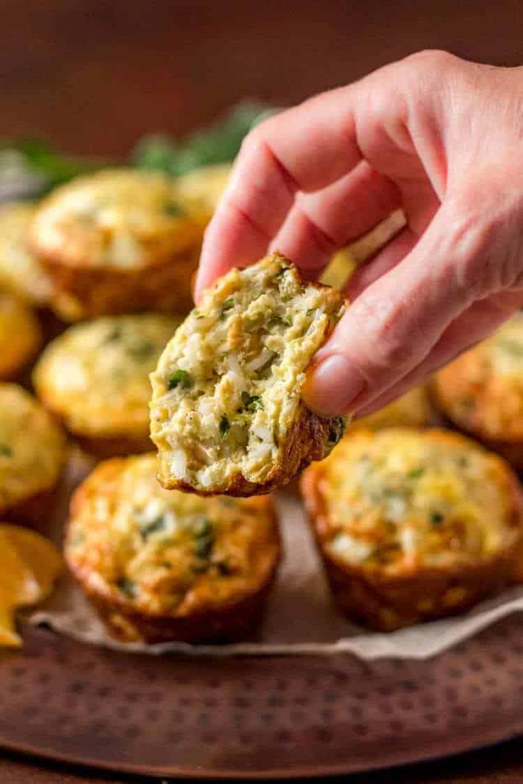 Healthy Mediterranean Rice and Chick Pea Mini-Frittatas - an egg muffin in my hand.