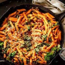 Instant Pot Cannelini Beans with Penne, Baby Kale, and Slow Roasted Tomatoes