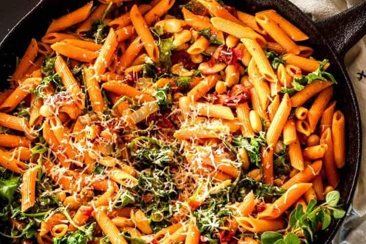 """<span class=""""entry-title-primary"""">Instant Pot Cannelini Beans with Penne, Baby Kale, and Slow Roasted Tomatoes</span> <span class=""""entry-subtitle"""">Vegetarian</span>"""