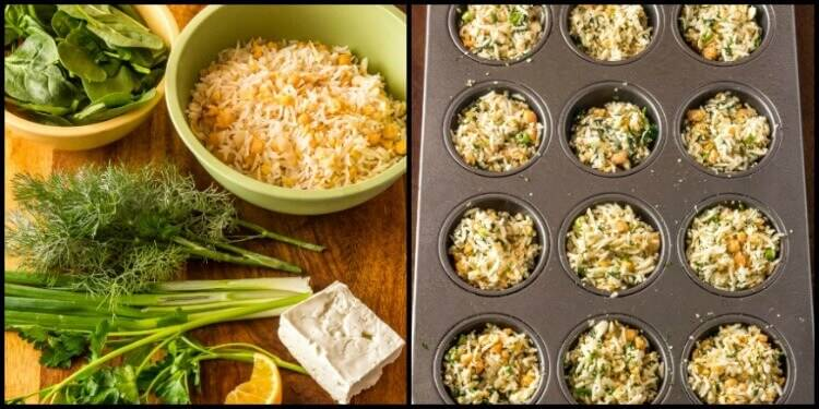 Healthy Mediterranean Rice and Chick Pea Mini-Frittatas - ingredients read to prep and dry ingredients in muffin pan ready for egg mixture.