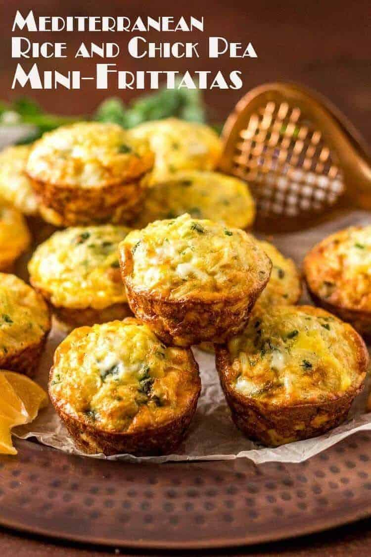 """Some mornings just call for a healthy grab n' go breakfast... These Mediterranean Rice and Chick Pea Mini-Frittatas with feta cheese, fresh herbs, and spinach get their """"staying power"""" from leftover rice (white or brown) and coarsely chopped chick peas. Hot out of the oven, warmed up the next day, or even room temperature, they're a tasty, nutritious way to change up your morning routine! Gluten Free 