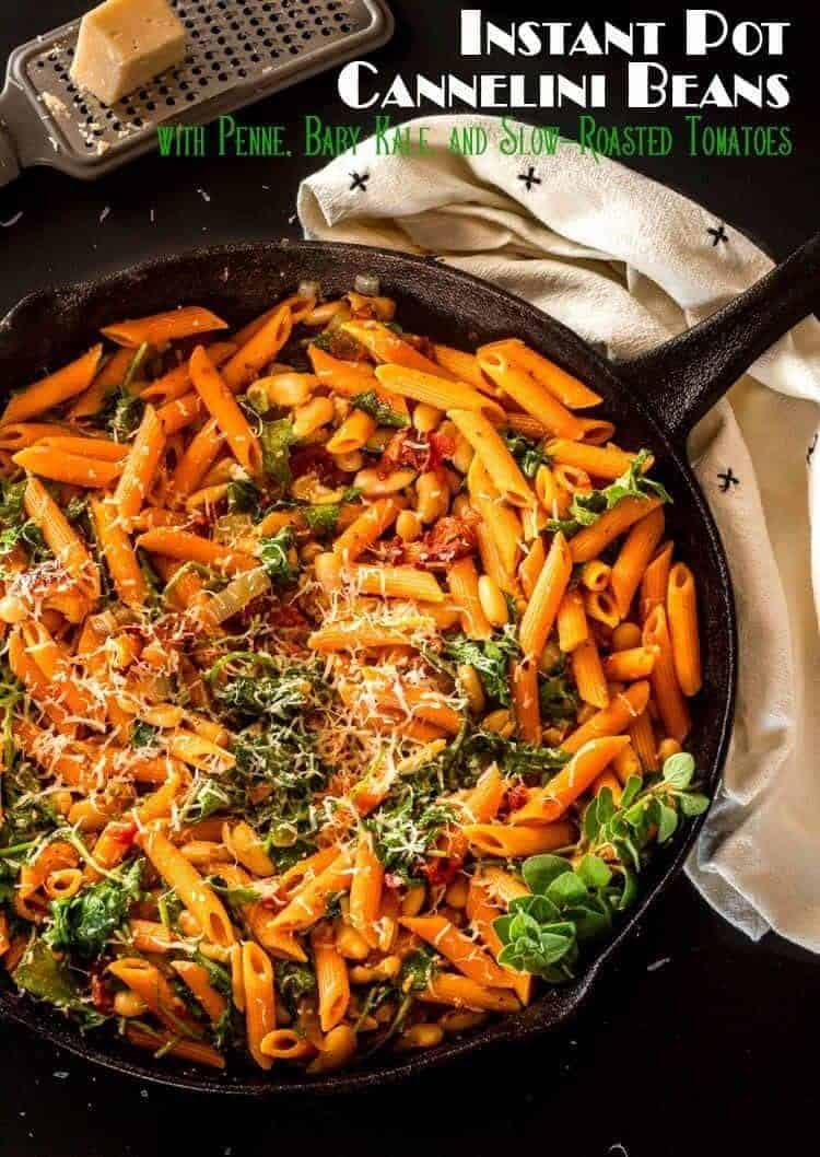 Beat the heat and the time required to cook dried beans on the stove by using your Instant Pot/Pressure Cooker to get the job done in a fraction of the time! Instant Pot Cannelini Beans with Penne, Baby Kale, and Slow Roasted Tomatoes uses those fiber and nutrient-rich beans in a super quick and easy pasta dish perfect for busy weeknights! Bob's Red Mill | Cannelini Beans | Instant Pot | Pressure Cooker | Pasta Recipes | Vegetarian Main Dish