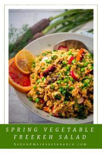 Pinterist Pin for spring vegetable freekeh salad.