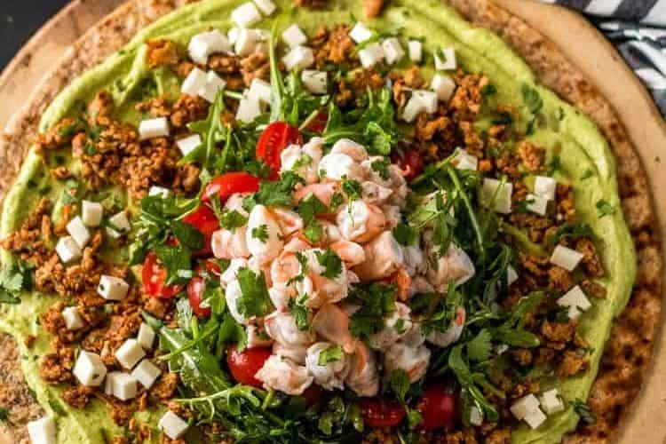Mexican Grilled Pizza with Shrimp Ceviche and Avocado Hummus