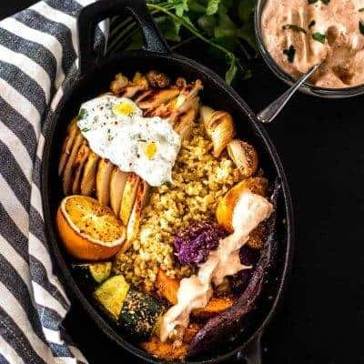 North African Grilled Chicken and Veggie Bowls with Harissa Yogurt Sauce