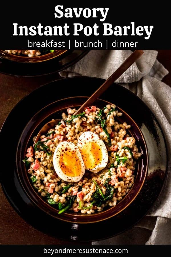 A Pinterest pin of a bowl of savory barley on a black background.