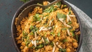 Moroccan Couscous with Chick Peas, Spinach, and Dried Fruit