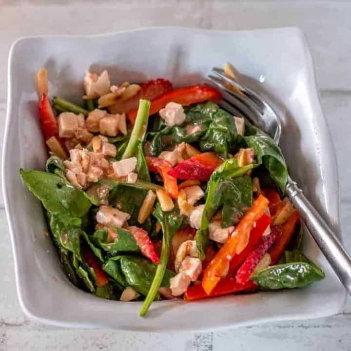 Red White and Green Salad - an individual serving of the red white and green salad.