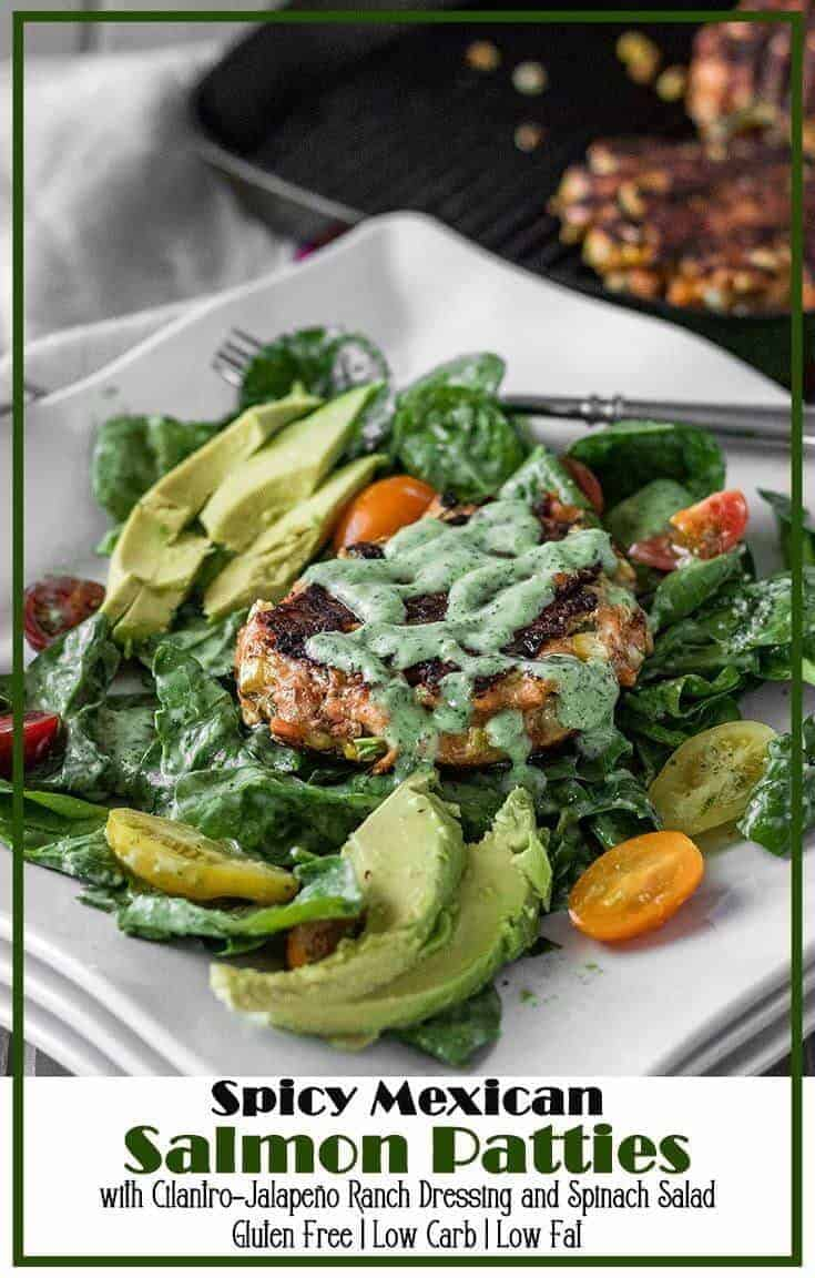 Finely diced fresh salmon mixed with fresh ingredients - jalapeño, cilantro, corn, cotija - atop a simple spinach, avocado, and tomato salad dressed with a Creamy Cilantro Ranch...Spicy Mexican Salmon Patties with Creamy Cilantro Ranch and Spinach Salad checks all the summer