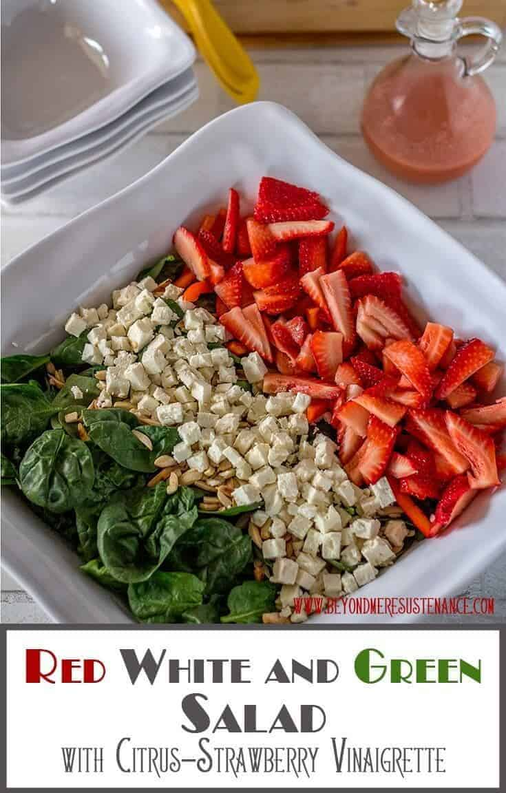 This colorful Red White and Green Salad features strawberries and sweet red pepper (red), feta cheese and slivered almonds (white), and nutrient-rich baby spinach tossed with a citrus-strawberry vinaigrette... A perfect salad for your Cinco de Mayo table, and simple enough for any day of the week! Cinco de Mayo | Spinach Salads | Gluten Free | Salad Recipes | Healthy Salads