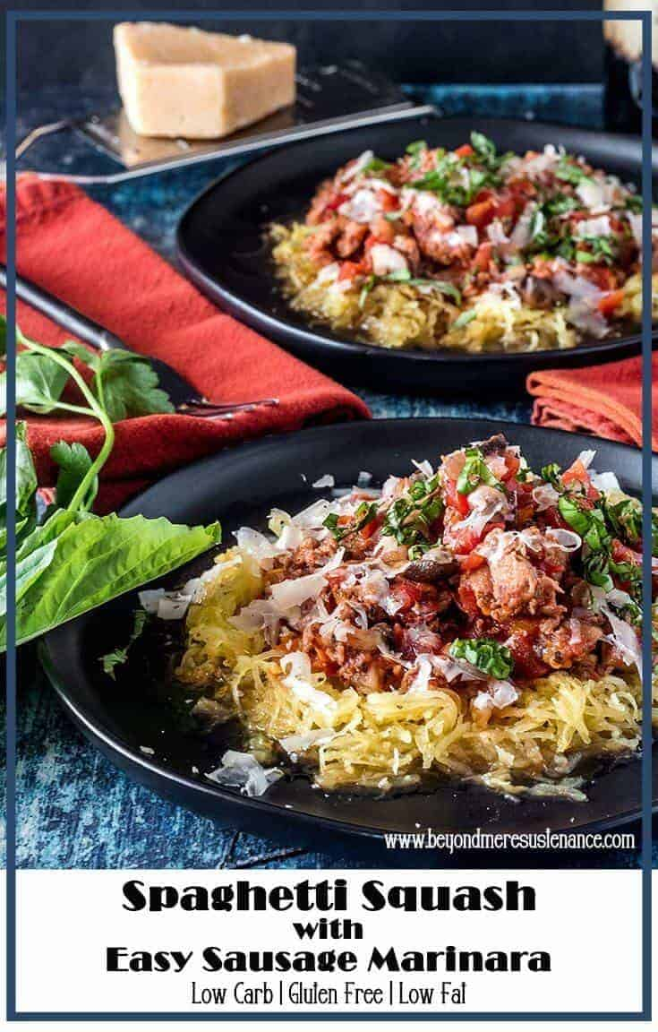 """It's hard to beat a good spicy sausage marinara... Generously ladled atop roasted spaghetti squash, my Spaghetti Squash with Easy Sausage Marinara is low carb and gluten free, and just might help you forget the """"missing"""" pasta! Yum! Low Carb 