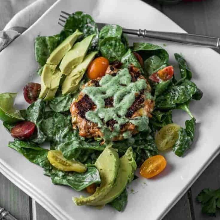 Spicy Mexican Salmon Patties with Cilantro-Jalapeño Ranch Dressing and Spinach Salad