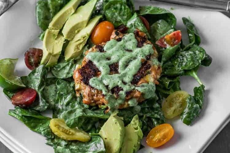 "<span class=""entry-title-primary"">Spicy Mexican Salmon Patties with Cilantro-Jalapeño Ranch Dressing and Spinach Salad</span> <span class=""entry-subtitle"">Gluten Free 