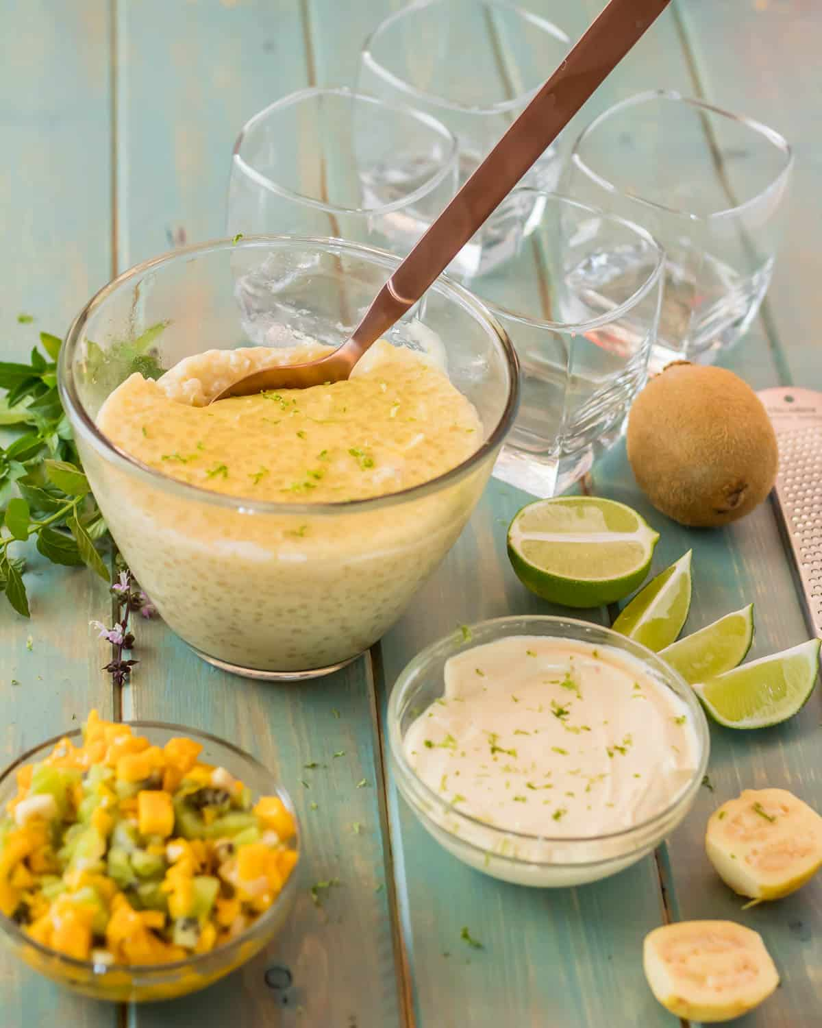Tropical Tapioca Parfaits with Mango and Mascarpone - all of the ingredients for the tropical parfaits ready to assemble...