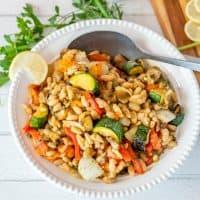 Summer Flageolet Beans with Grilled Veggies Provençal