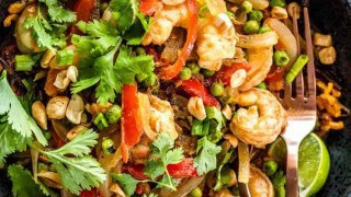 Thai Sweet Potato Noodle Bowls with Shrimp and Peas