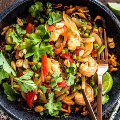 Thai Sweet Potato Noodle Bowls with Shrimp and Peas