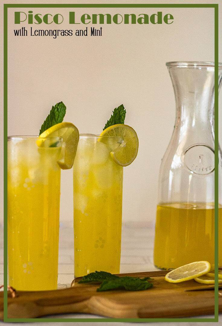 "Pisco Lemonade with Lemongrass and Mint requires a couple of fresh ingredients, a bottle of pisco, and a few minutes of ""active"" time... It's a perfect hot-weather adult beverage, but leave out the pisco, and it's bound to please young and old alike!#piscococktails #piscolemonade #cocktails #pisco #summercocktails #mocktails #lemonaderecipe"