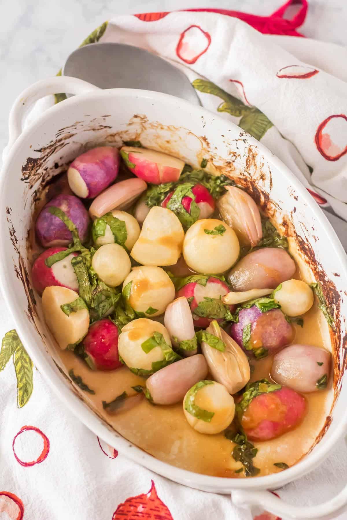 Roasted Miso Glazed Radishes - roasted radishes in a white oval dish.
