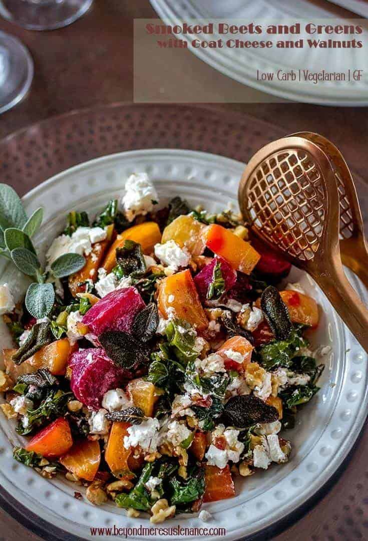 If you love the flavor of smoke, you'll love my Smoked Beets and Greens with Goat Cheese and Walnuts! A cold smoke gun is all you need to infuse fresh beets and their greens with lots of smoky flavor. Toss in some goat cheese and toasted walnuts for a simply fantastic and healthy side dish. Sage browned butter optional. #vegetarian #glutenfree #lowcarbsides #smokedbeets #cleaneating