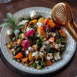 Smoked Beets and Greens with Goat Cheese and Walnuts