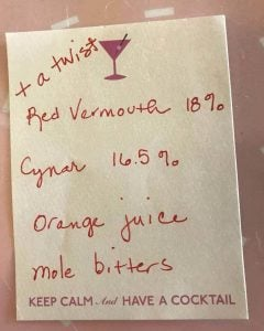 A note with ingredients for my new Cynar cocktail...
