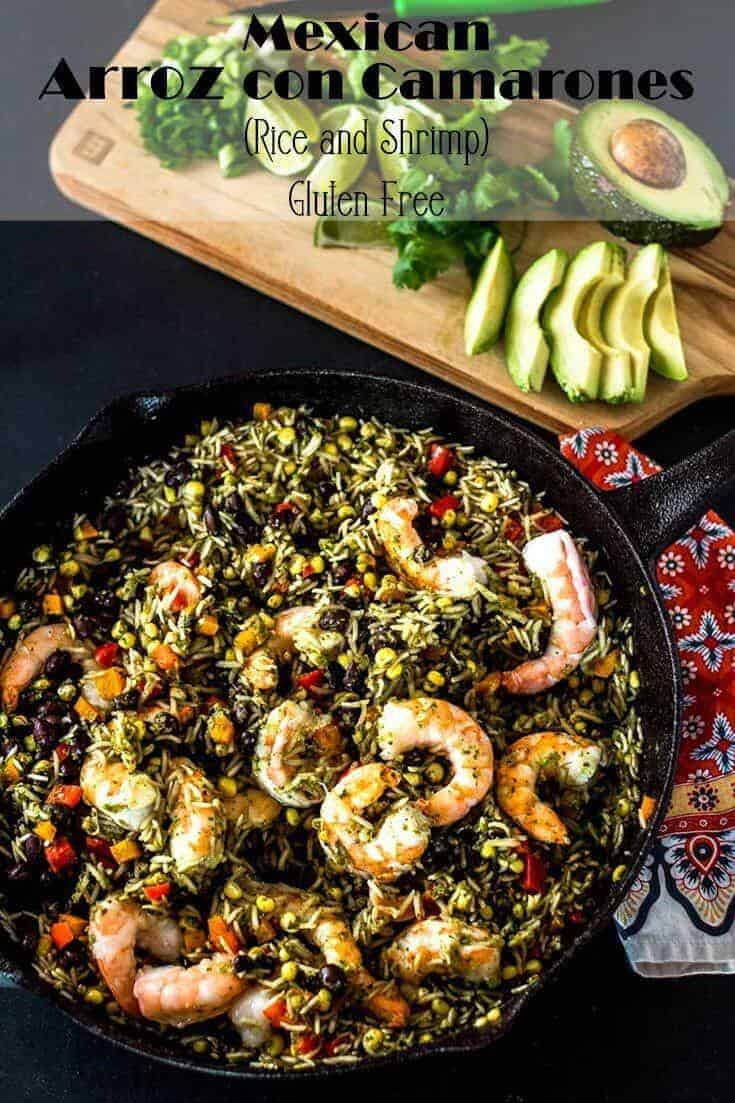 A fiesta in bowl,Mexican Arroz con Camarones (Rice and Shrimp) combines Mexican flavors - cilantro, cumin, and garlic - with shrimp, rice, black beans, and veggies. Garnished with avocado, jalapeño, more cilantro, and lime wedges, it's quick, healthy, and flavorful... A perfect one pot meal for any day of the week! #arrozconcamarones #shrimpandrice #shrimprecipes #onepotmeals #weeknightdinners #healthyMexican #blackbeansandrice #Seafood2xWk #sustainableseafood #glutenfreemains