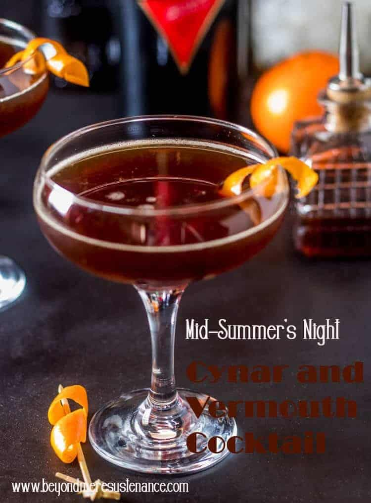 AMid-Summer's Night Cynar and Vermouth Cocktail combines an old standby red vermouth (aka Italian vermouth) with a rather obscure but trendy Italian aperitif Cynar (pronounced chee-nar) with fresh squeezed orange juice, mole bitters, and an orange twist. This mixologist definitely thinks